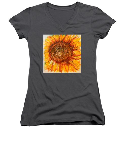 Hello Sunflower Women's V-Neck (Athletic Fit)