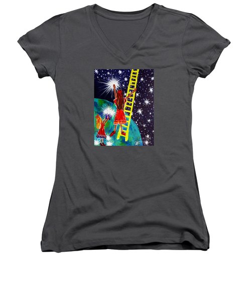 Women's V-Neck T-Shirt (Junior Cut) featuring the painting Helping Hands by Jackie Carpenter