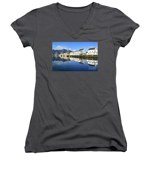 Women's V-Neck featuring the photograph Henningsvaer Harbour by Heiko Koehrer-Wagner