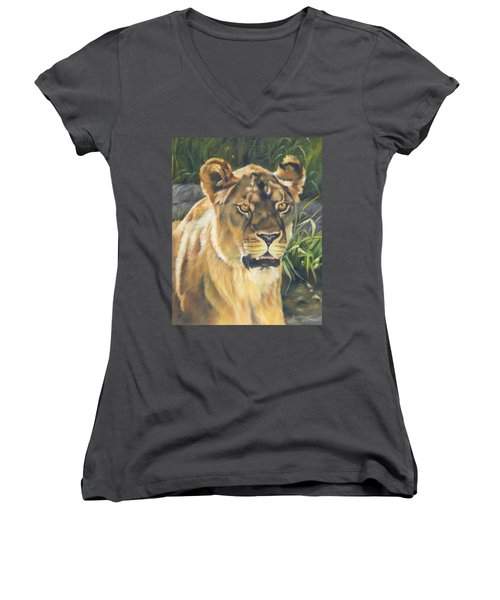 Her - Lioness Women's V-Neck T-Shirt