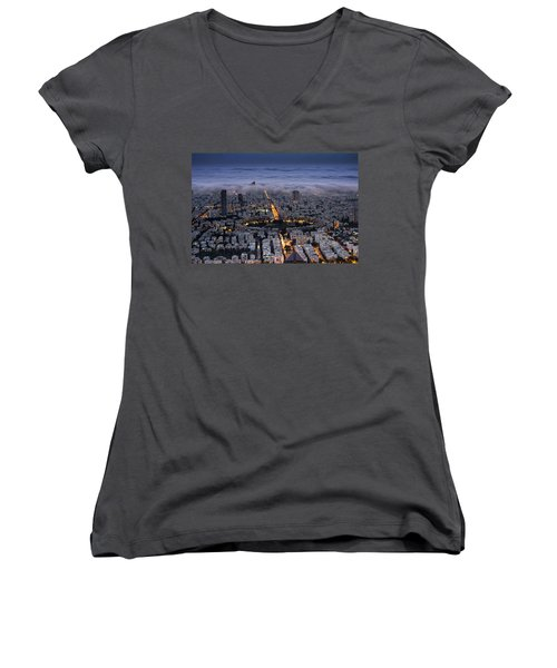Women's V-Neck T-Shirt featuring the photograph Here Comes The Fog  by Ron Shoshani