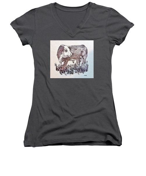 Polled Hereford Bull  Women's V-Neck T-Shirt (Junior Cut) by Larry Campbell