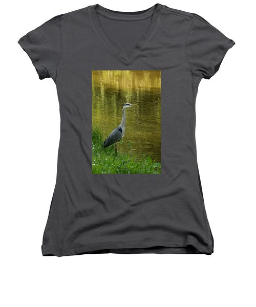Heron Statue Women's V-Neck T-Shirt
