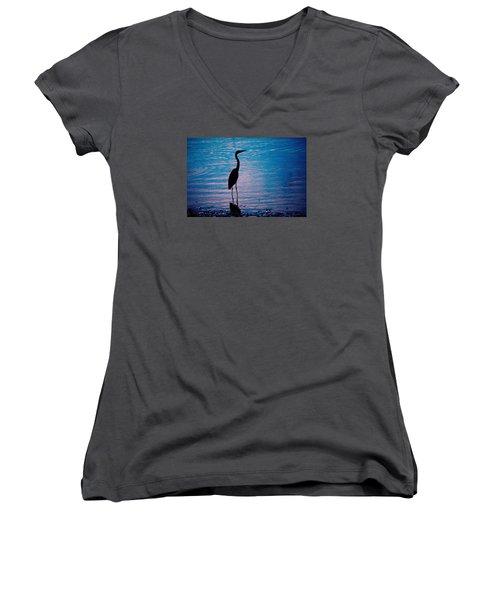 Herons Moment Women's V-Neck T-Shirt (Junior Cut) by Karol Livote