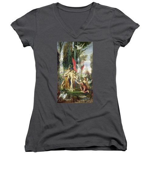 Hesiod And The Muses Women's V-Neck T-Shirt (Junior Cut) by Gustave Moreau