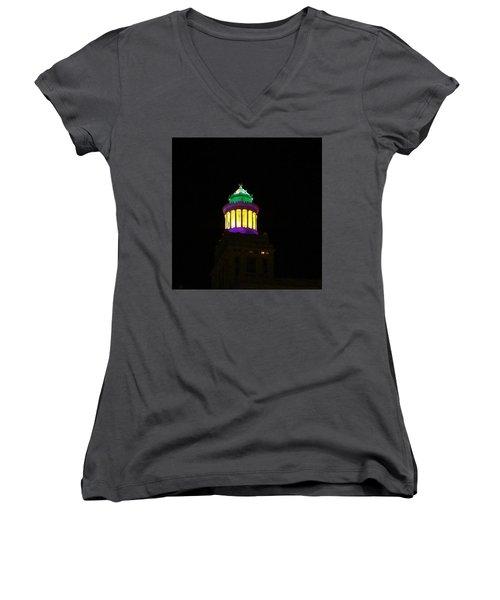Hibernia Tower - Mardi Gras Women's V-Neck T-Shirt (Junior Cut) by Deborah Lacoste