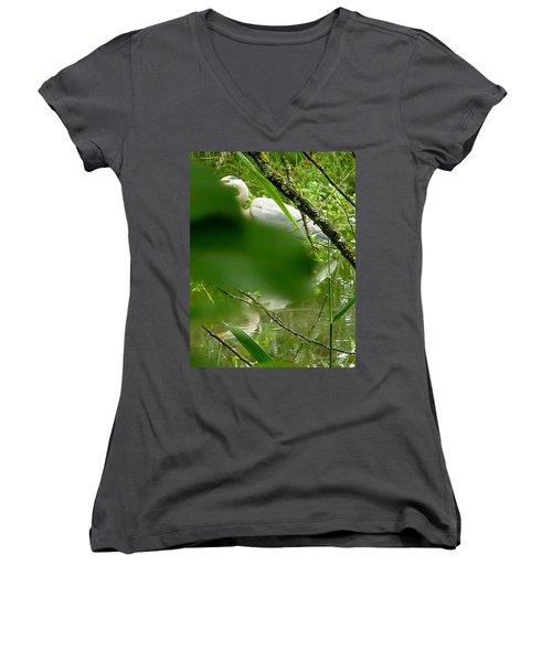 Hidden Bird White Women's V-Neck T-Shirt (Junior Cut) by Susan Garren