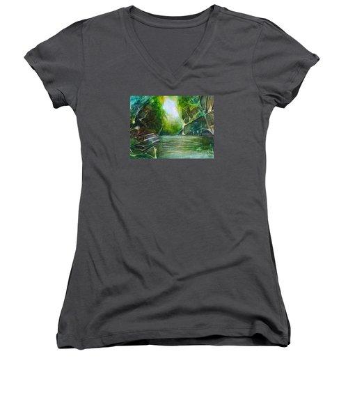 Women's V-Neck T-Shirt (Junior Cut) featuring the painting Hidden Green by Allison Ashton