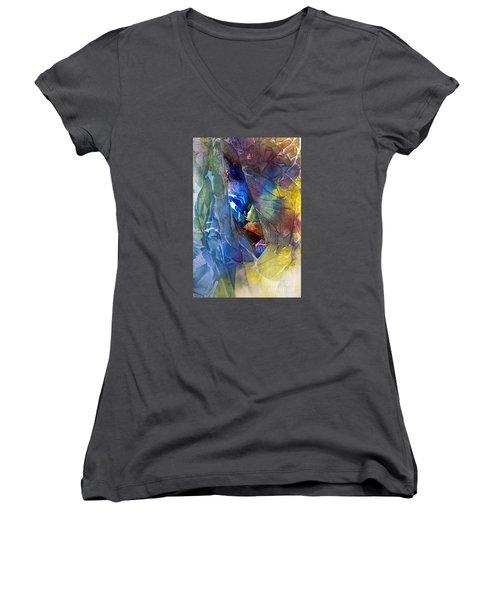 Women's V-Neck T-Shirt (Junior Cut) featuring the painting Hidden Light by Allison Ashton