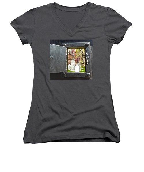 Women's V-Neck T-Shirt (Junior Cut) featuring the photograph Hidden New York by Joan Reese