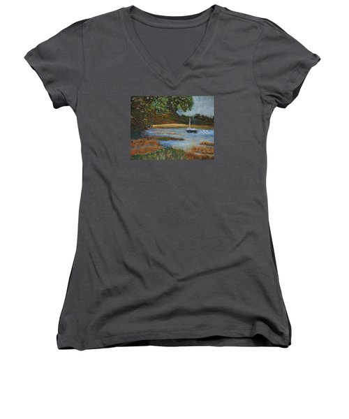 Women's V-Neck T-Shirt (Junior Cut) featuring the painting Hospital Cove by Michael Helfen