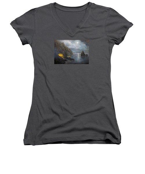 Hiding Treasure Women's V-Neck T-Shirt (Junior Cut) by Donna Tucker