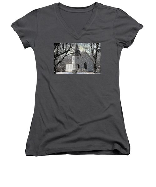 Higgensville Church Women's V-Neck T-Shirt (Junior Cut) by Liane Wright