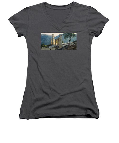 High Angle View Of Ruined Columns Women's V-Neck