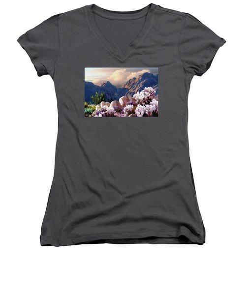 High Desert Sunrise Women's V-Neck T-Shirt (Junior Cut) by Ron Chambers
