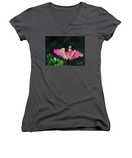 Women's V-Neck featuring the photograph High Speed Hibiscus Flower by Byron Varvarigos