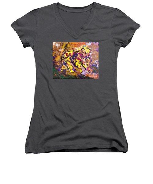Women's V-Neck T-Shirt (Junior Cut) featuring the painting Highland's North Carolina Bear by Janice Rae Pariza