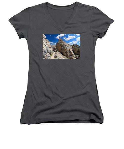 hike in Dolomites Women's V-Neck T-Shirt (Junior Cut) by Antonio Scarpi