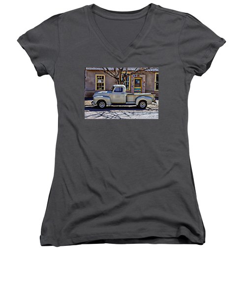 Women's V-Neck T-Shirt (Junior Cut) featuring the painting Hillsboro New Mexico 1949 Gmc 100 by Barbara Chichester