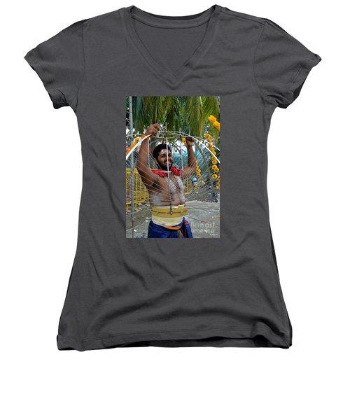 Women's V-Neck T-Shirt (Junior Cut) featuring the photograph Hindu Thaipusam Festival Pierced Devotee  by Imran Ahmed