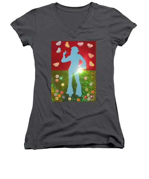 Hippie Girl Women's V-Neck (Athletic Fit)