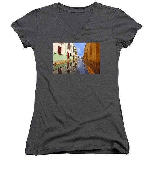 Women's V-Neck T-Shirt (Junior Cut) featuring the photograph Historic Campeche Mexico  by Susan Rovira