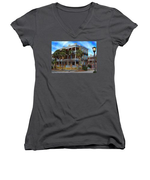 Women's V-Neck T-Shirt (Junior Cut) featuring the photograph Historic Charleston Mansion by Kathy Baccari