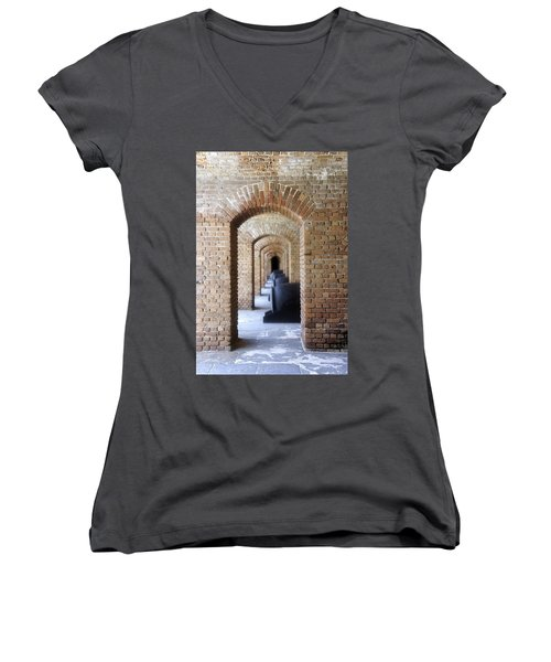 Women's V-Neck T-Shirt (Junior Cut) featuring the photograph Historic Hallway by Laurie Perry