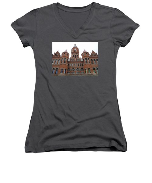 Women's V-Neck T-Shirt (Junior Cut) featuring the photograph Historic Old Red Courthouse Dallas #1 by Robert ONeil