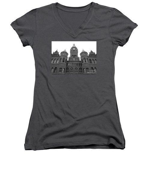Women's V-Neck T-Shirt (Junior Cut) featuring the photograph Historic Old Red Courthouse Dallas #2 by Robert ONeil