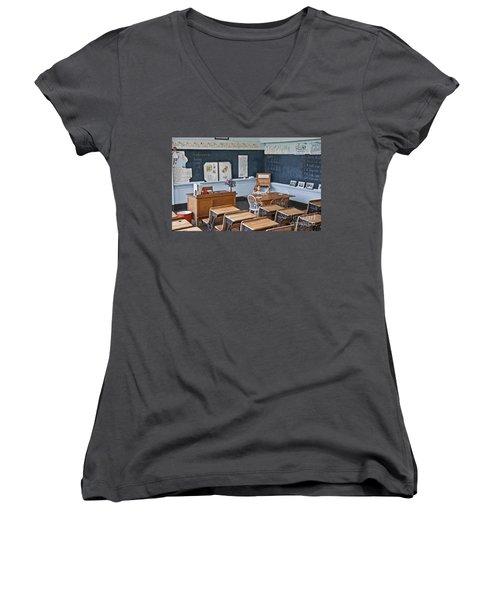 Historic School Classroom Art Prints Women's V-Neck T-Shirt (Junior Cut) by Valerie Garner