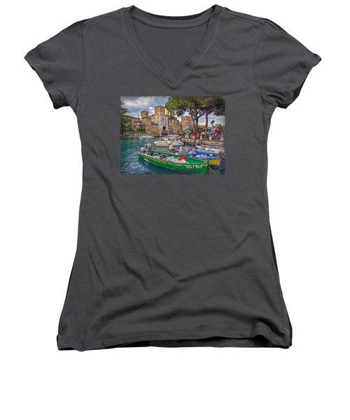 History At Lake Garda Women's V-Neck T-Shirt (Junior Cut) by Hanny Heim