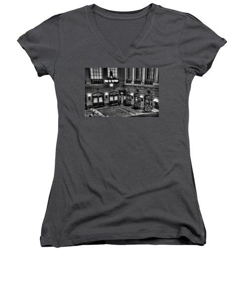Hoboken Terminal Waiting Room Women's V-Neck T-Shirt (Junior Cut) by Anthony Sacco