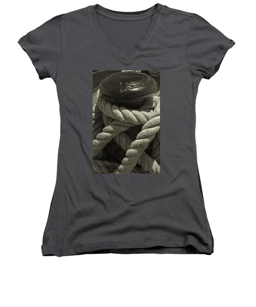 Hold On Black And White Sepia Women's V-Neck