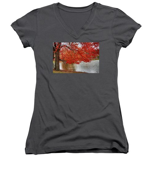 Women's V-Neck T-Shirt (Junior Cut) featuring the photograph Holding Our Bright Red Joy by Jeff Folger