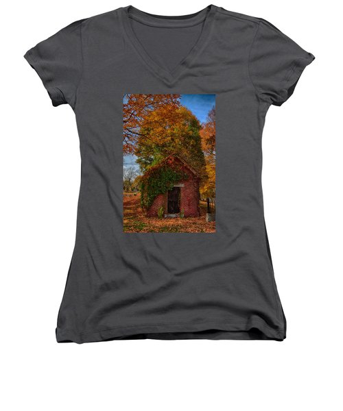 Women's V-Neck T-Shirt (Junior Cut) featuring the photograph Holding Up The  Fall Colors by Jeff Folger
