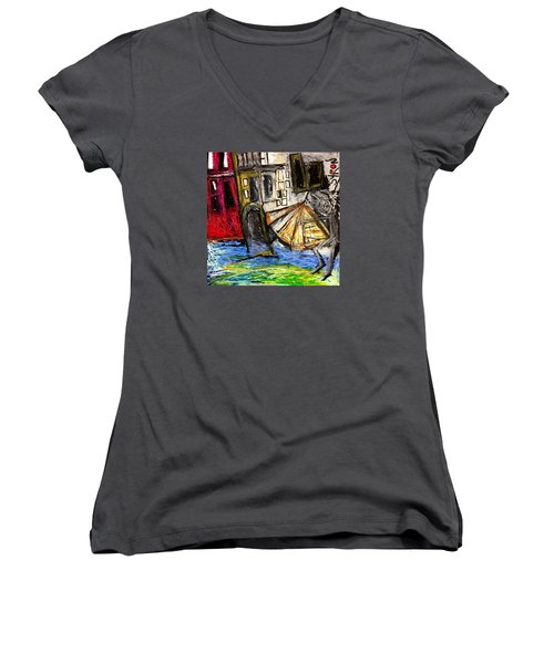 Holiday In Venice Women's V-Neck T-Shirt (Junior Cut) by Helen Syron