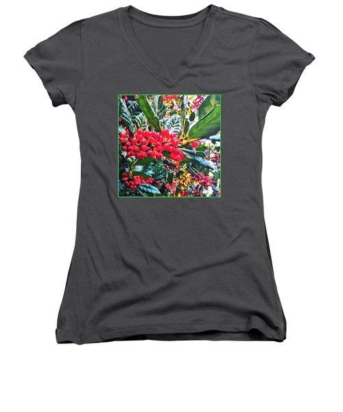 Holly Berries In The Sun Women's V-Neck