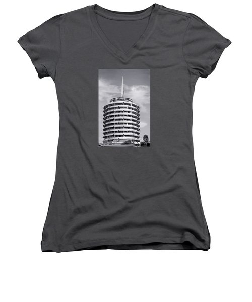 Hollywood Landmarks - Capital Records Women's V-Neck T-Shirt (Junior Cut) by Art Block Collections
