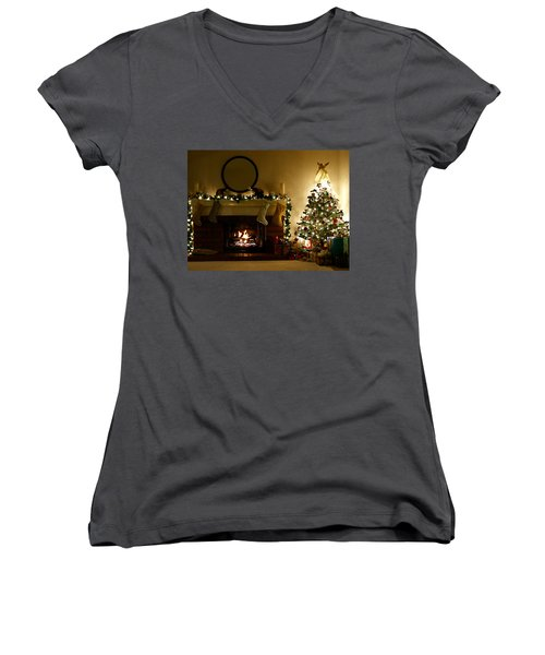 Home For The Holidays Women's V-Neck T-Shirt (Junior Cut)