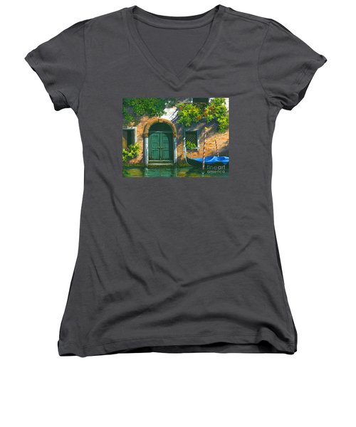 Women's V-Neck T-Shirt (Junior Cut) featuring the painting Home Is Where The Heart Is by Michael Swanson