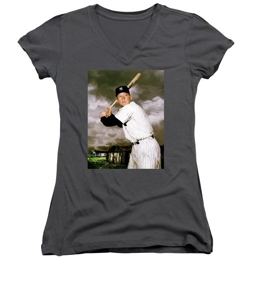 American Fabric   Mickey Mantle Women's V-Neck T-Shirt (Junior Cut) by Iconic Images Art Gallery David Pucciarelli