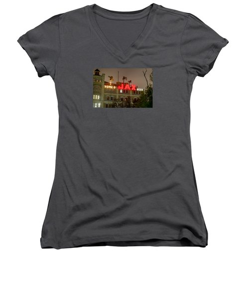 Women's V-Neck T-Shirt (Junior Cut) featuring the photograph Home Of Jax by Tim Stanley