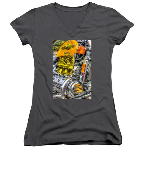 Honda Valkyrie 1 Women's V-Neck T-Shirt (Junior Cut) by Steve Purnell