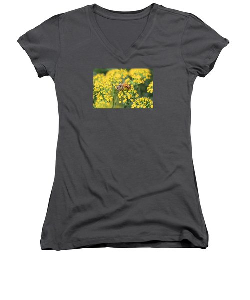 Honeybee On Dill Women's V-Neck T-Shirt (Junior Cut) by Lucinda VanVleck