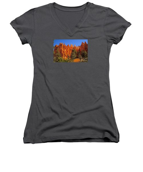 Hoodoos Along The Trail Women's V-Neck T-Shirt (Junior Cut) by Robert Bales