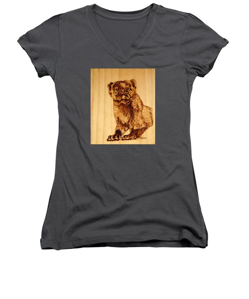 Women's V-Neck T-Shirt (Junior Cut) featuring the pyrography Hope's Marten by Ron Haist