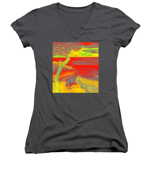 Horizon Women's V-Neck T-Shirt (Junior Cut) by Loredana Messina