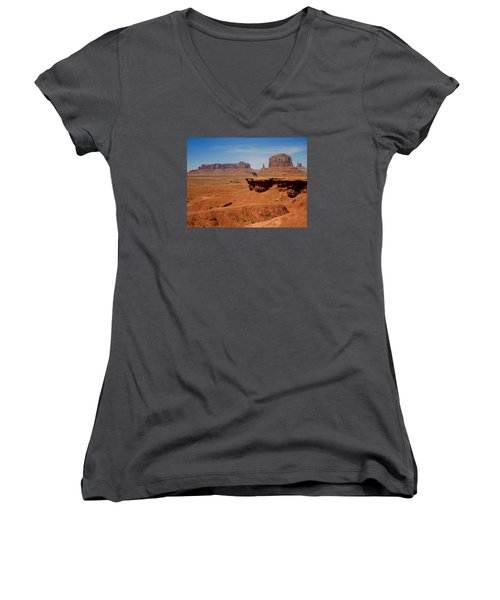 Horse And Rider In Monument Valley Women's V-Neck (Athletic Fit)