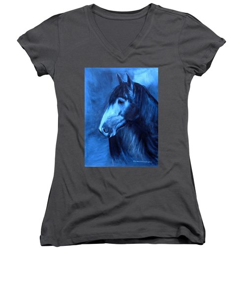 Horse - Carol In Indigo Women's V-Neck T-Shirt (Junior Cut) by Go Van Kampen